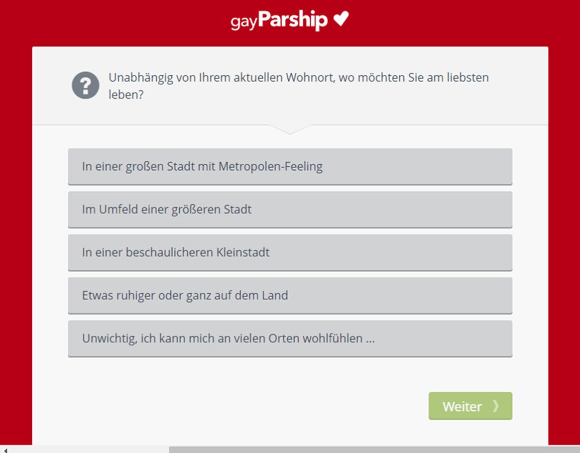 GayParship Registrierungsfrage Wohnort