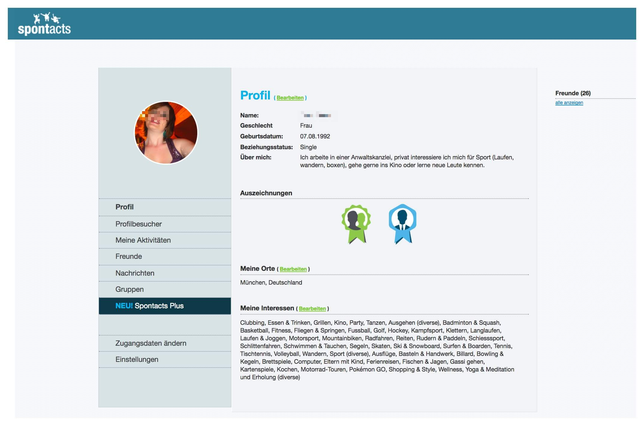 Eigenes Profil