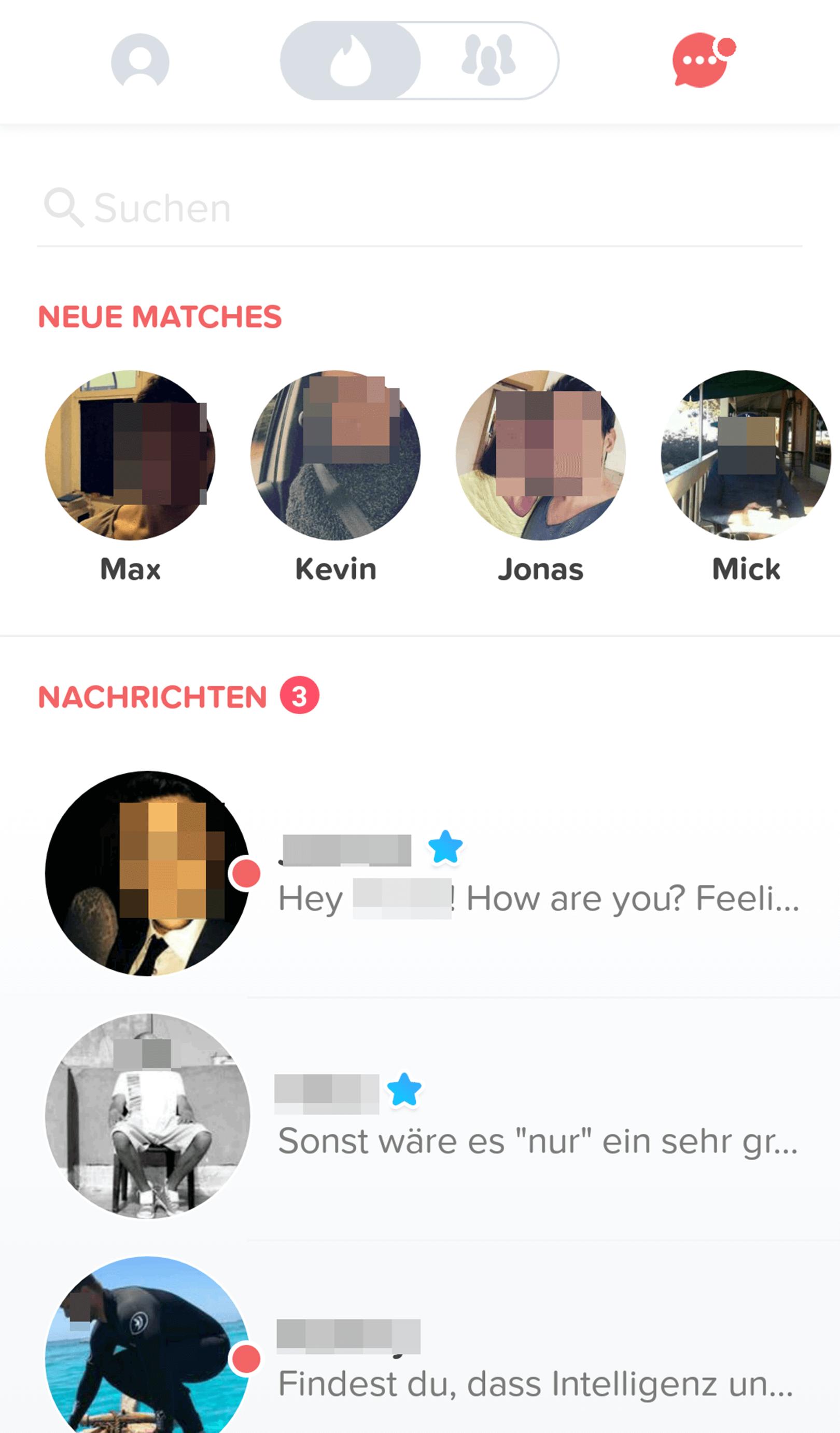 Tinder Matches und Nachrichten