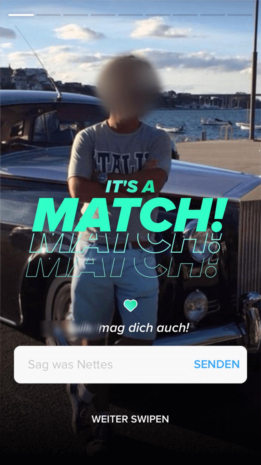 Neuer Matching Screen bei Tinder