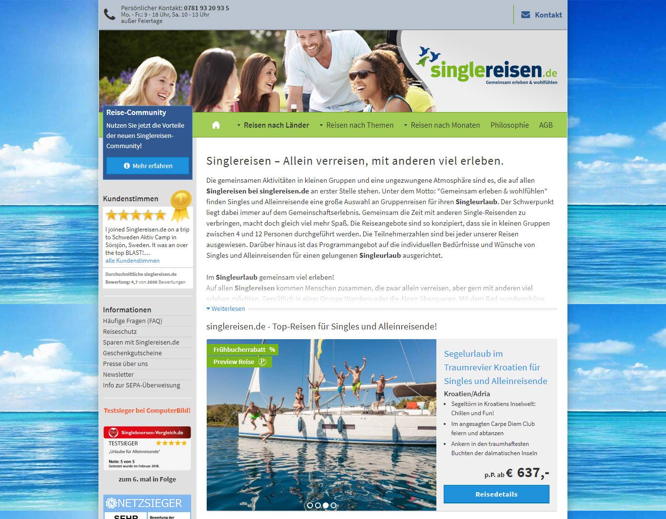 Singlereisen.de Homepage