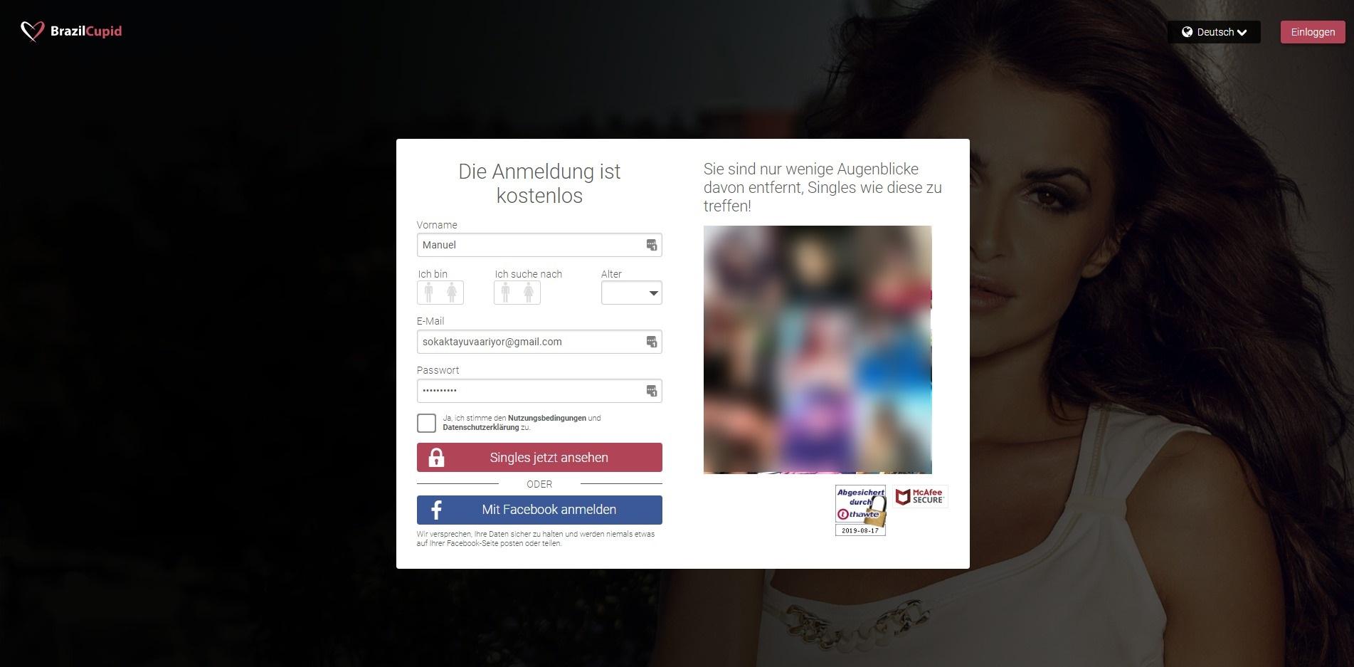 BrazilCupid Anmeldung