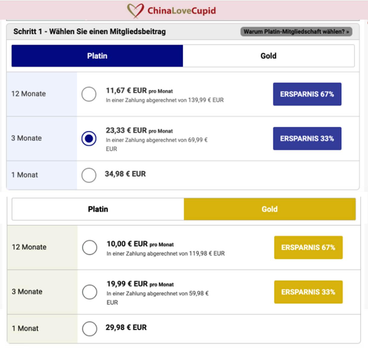 ChinaLoveCupid Preise