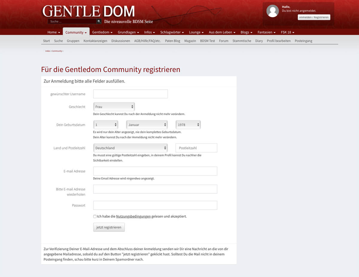 Gentledom Signup