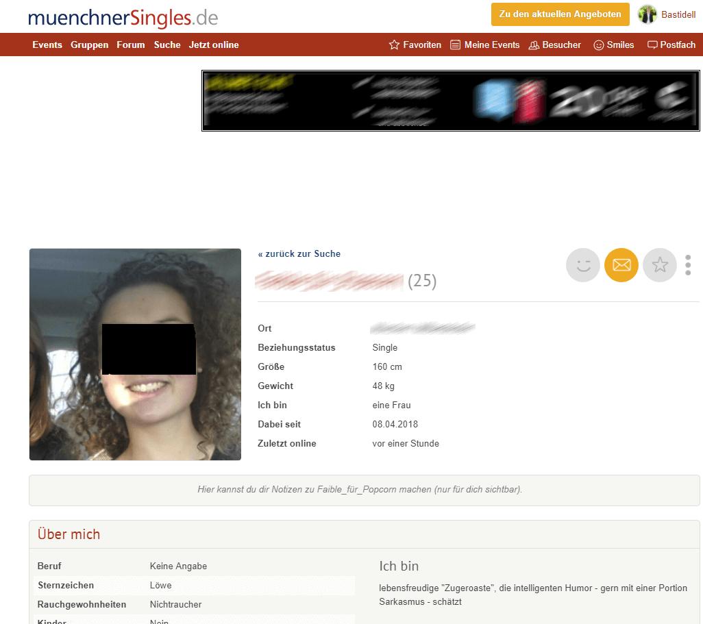 MünchnerSingles Frauenprofil