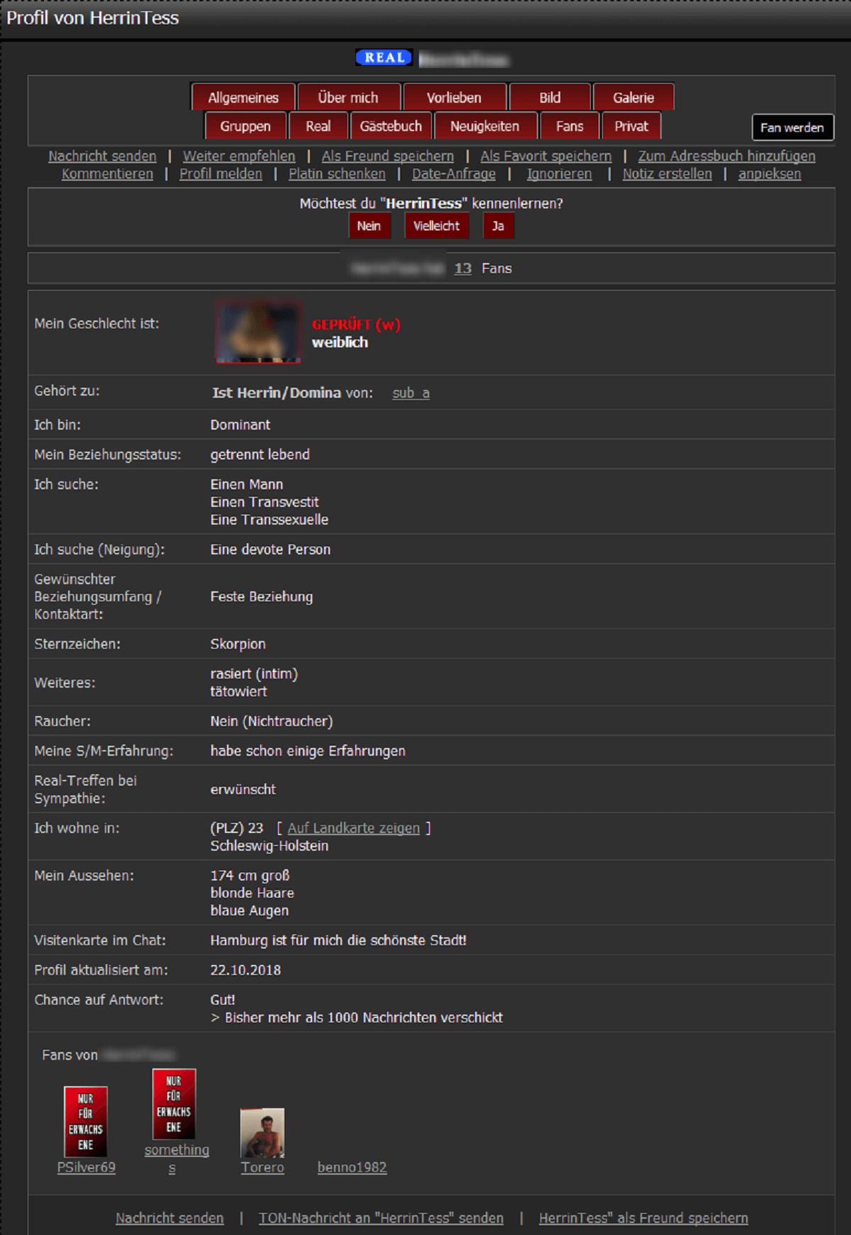Sadomasochat Match Profile