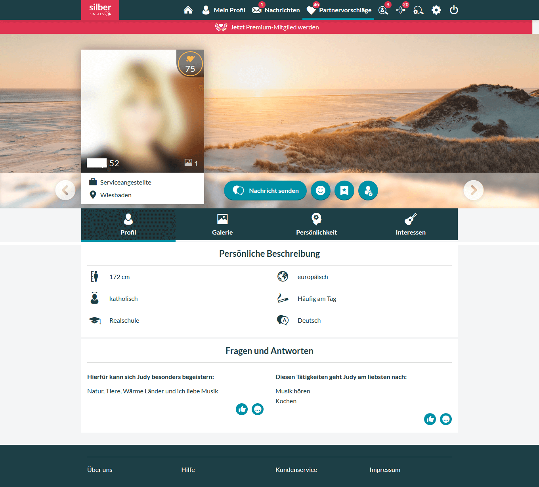 Silbersingles Profil Frau