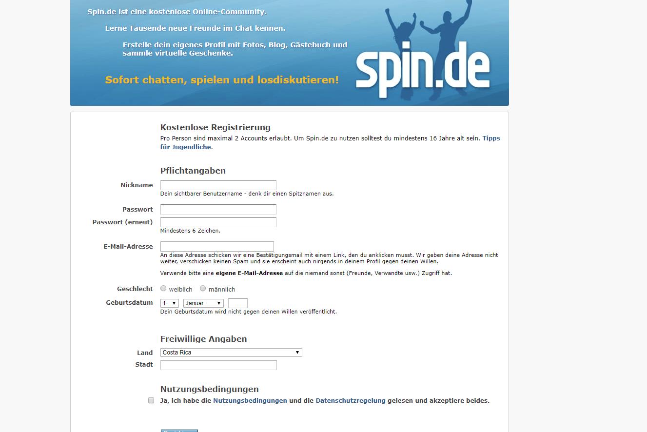 Spin Anmeldung