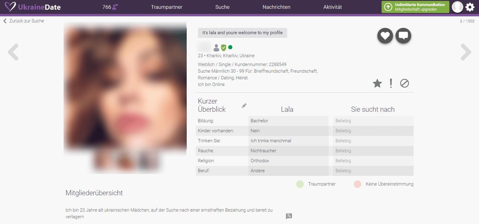 UkraineDate Userprofil