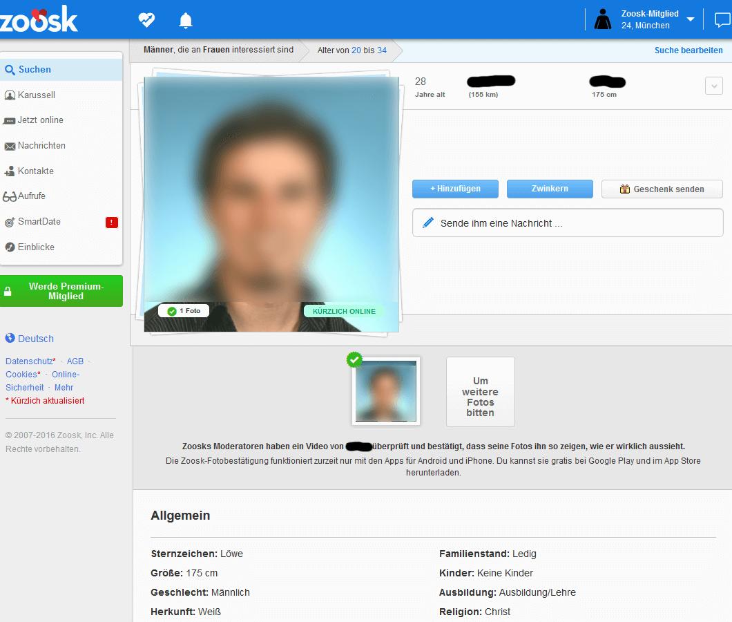 Profil auf Zoosk