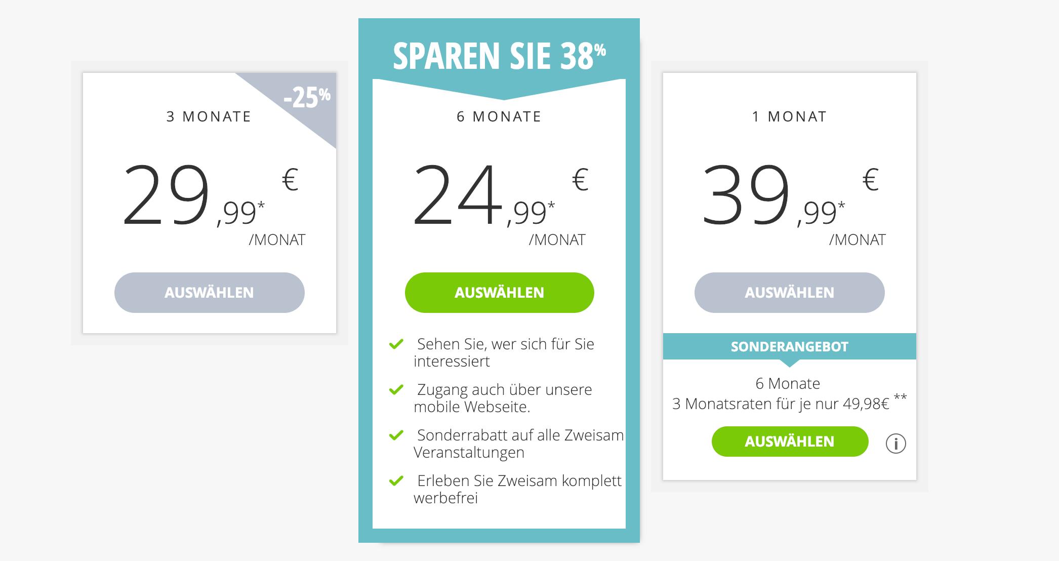 Zweisam Kosten