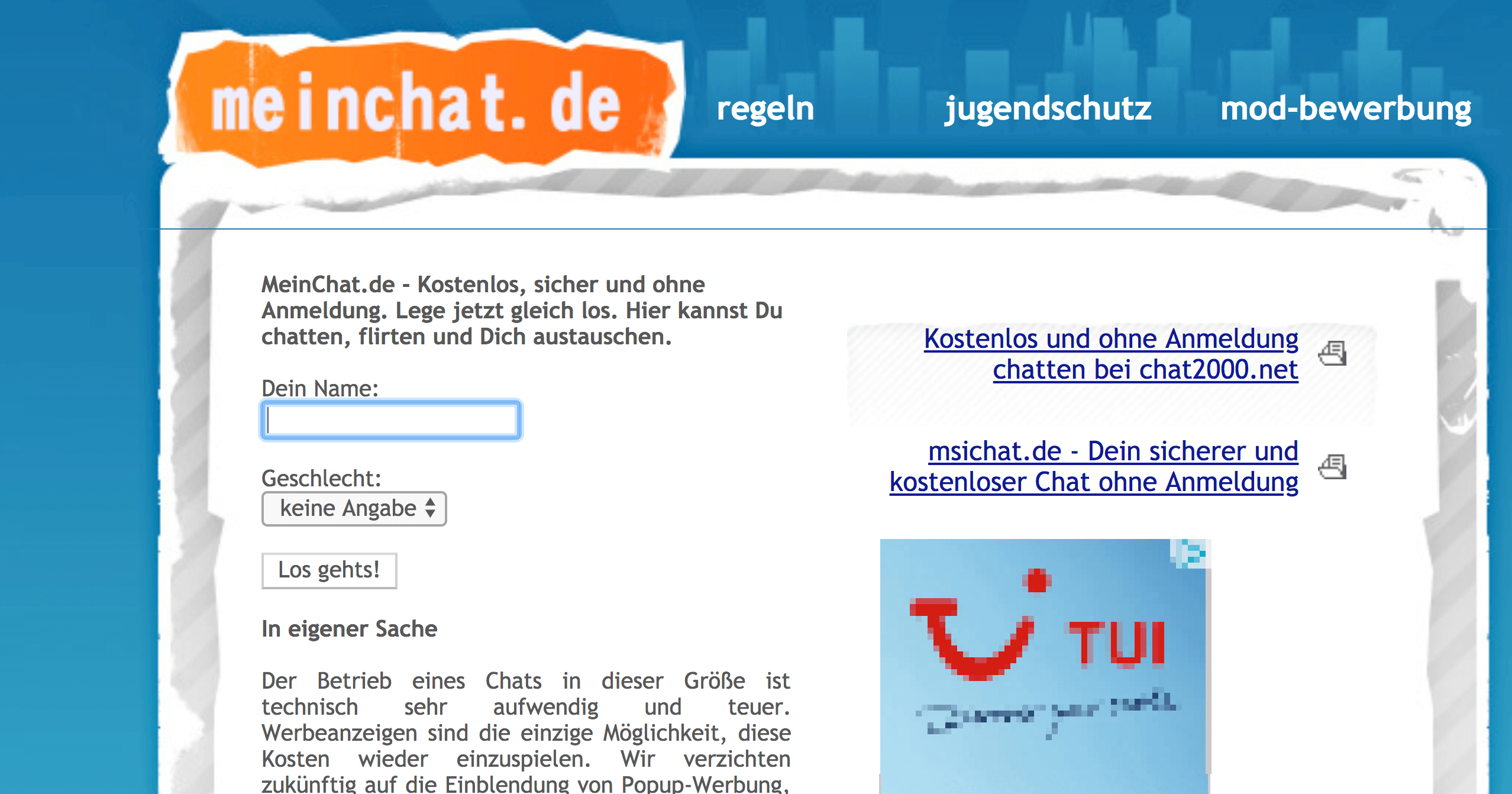 Anmeldung chat2000 ohne CHATROOM2000 ALTERNATIVE