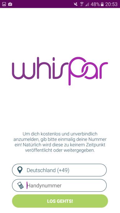 Whispar Anmeldung Mobilfunknummer