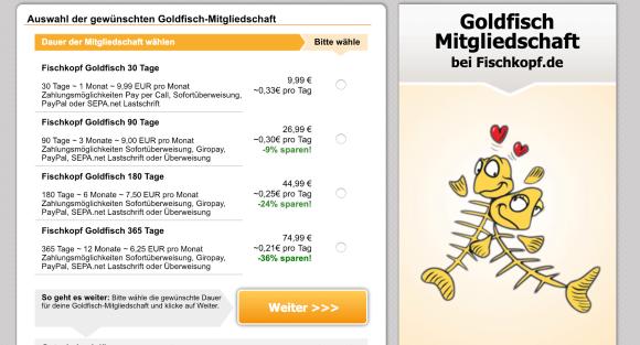 Fischkopf Goldfisch Mitgliedschaft