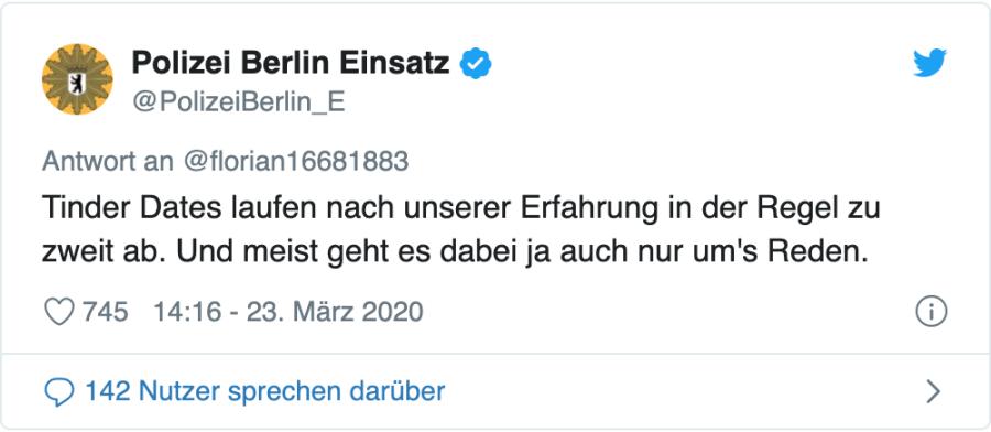 Tweet Polizei Berlin Corona