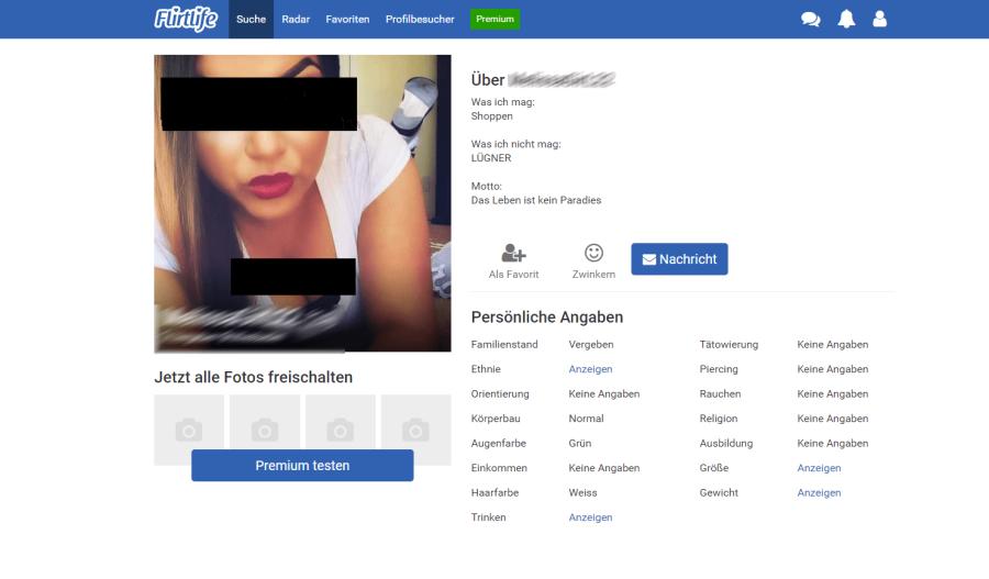 Profil bei Flirtlife