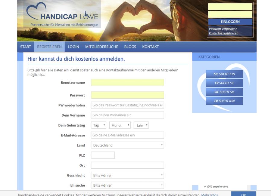 Handicap Love Registrierung