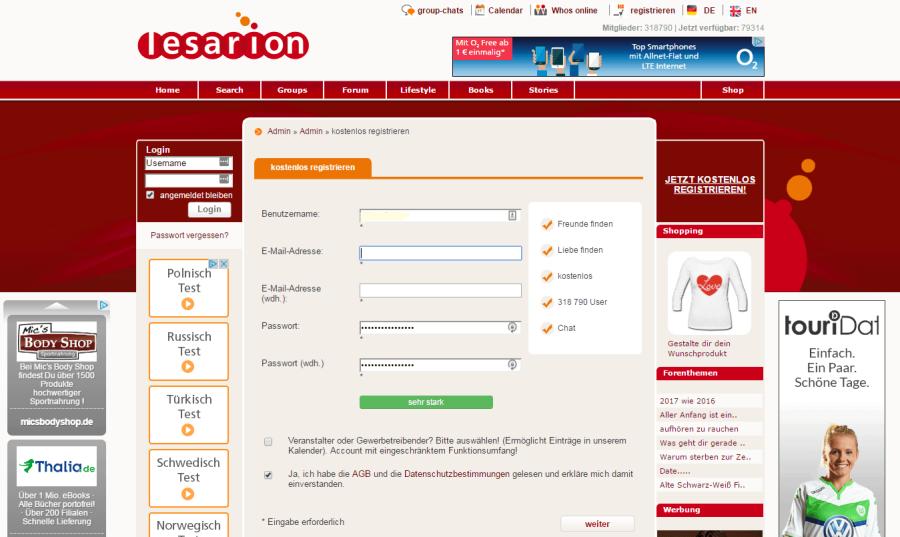Lesarion Registrierung