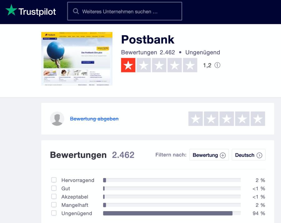 Bewertung Postbank Trustpilot