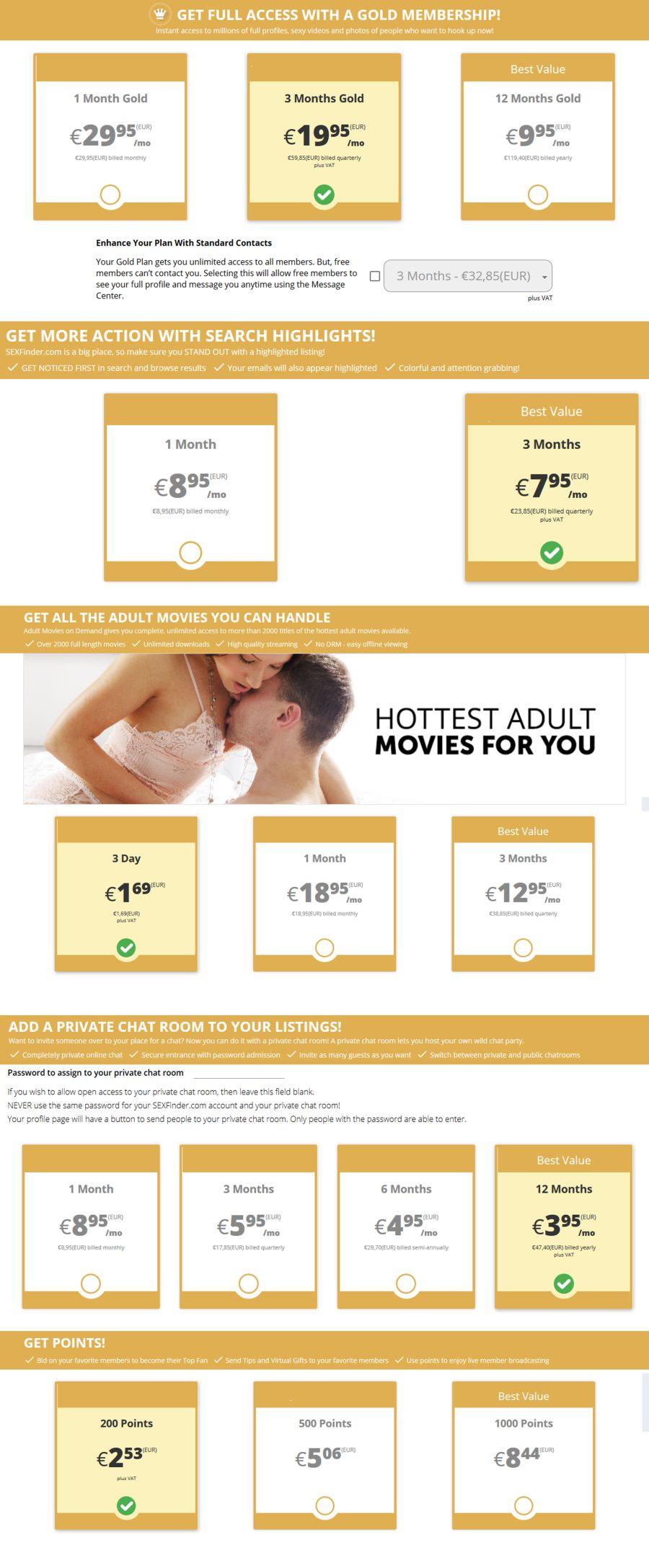 Sexfinder.com DE Preis