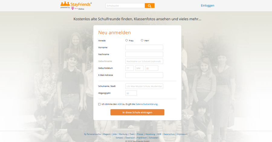 StayFriends Registrierung