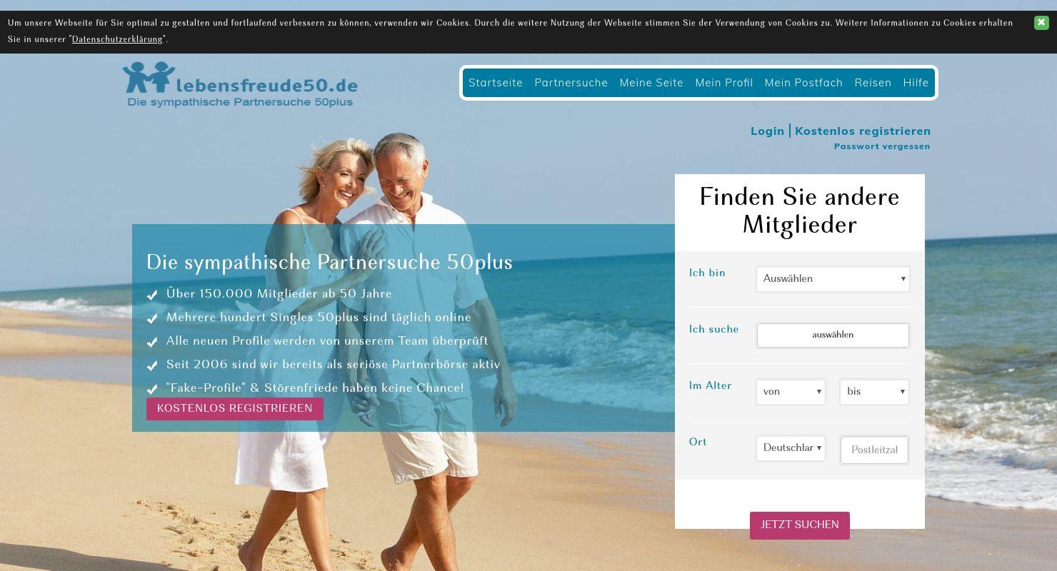 Lebensfreude50 Test Mai 2021: Partnersuche 50+